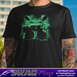 Green Glowing Drum Kit Musician T-Shirt