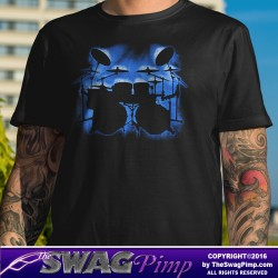 Blue Glowing Drum Kit Musician T-Shirt