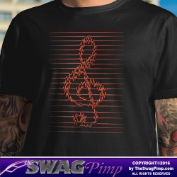 Treble Clef Pulse Red T-Shirt