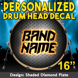 "Custom Bass Drum Head Decal for 16"" head"