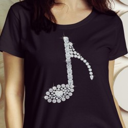 "Music Note ""Bling"" with Heart. Love Music Shirt"