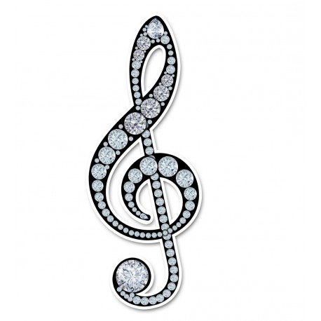 """Treble Clef Sticker - Simulated """"Bling"""""""